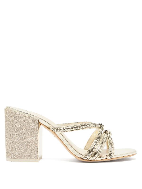 Sophia Webster Freya Glitter-heel Snake-effect Leather Mules In Gold