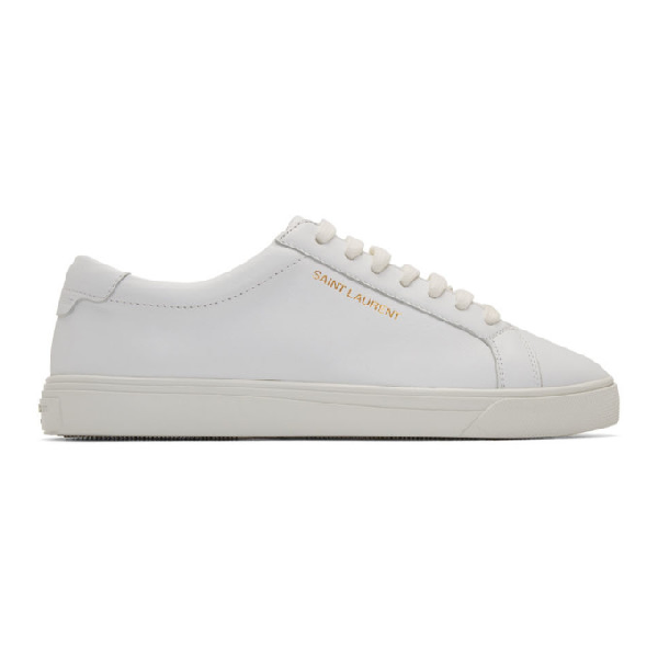Saint Laurent Andy Logo-print Leather Trainers In 9030 White