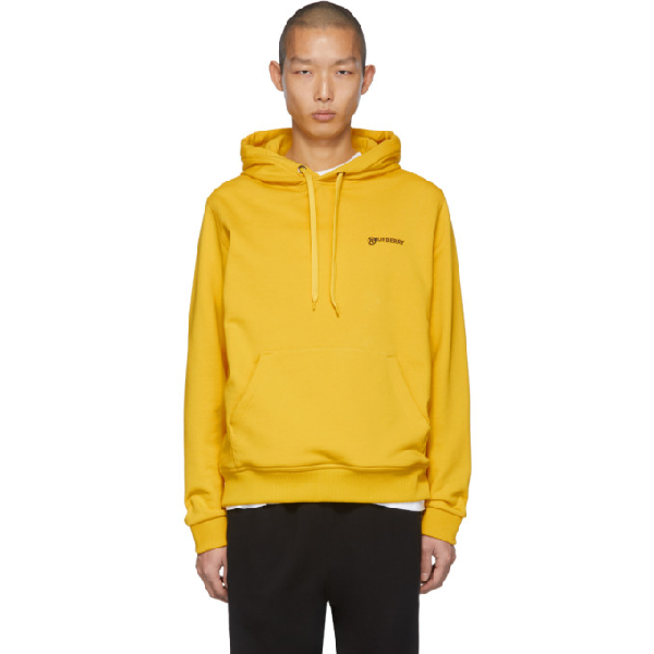 Burberry Logo Embroidered Jersey Hoodie In Canary Yell