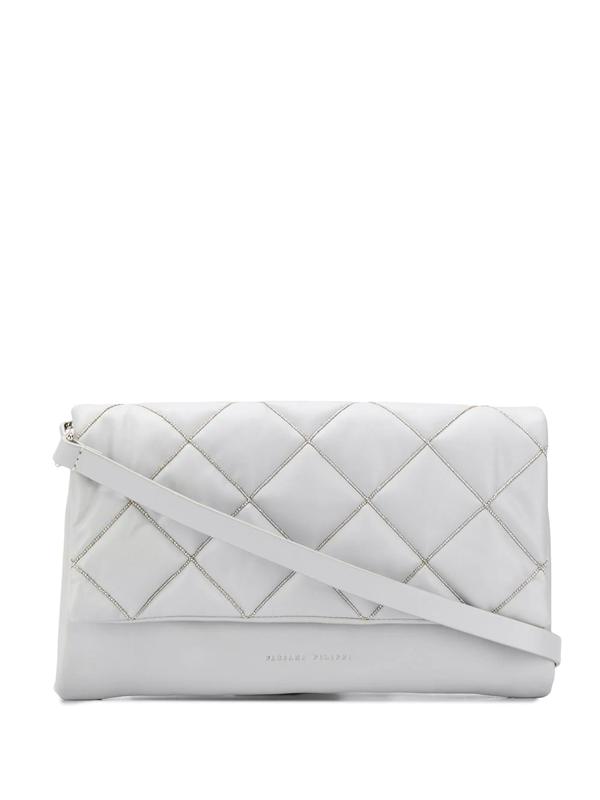 Fabiana Filippi Bead-embellished Shoulder Bag In Grey