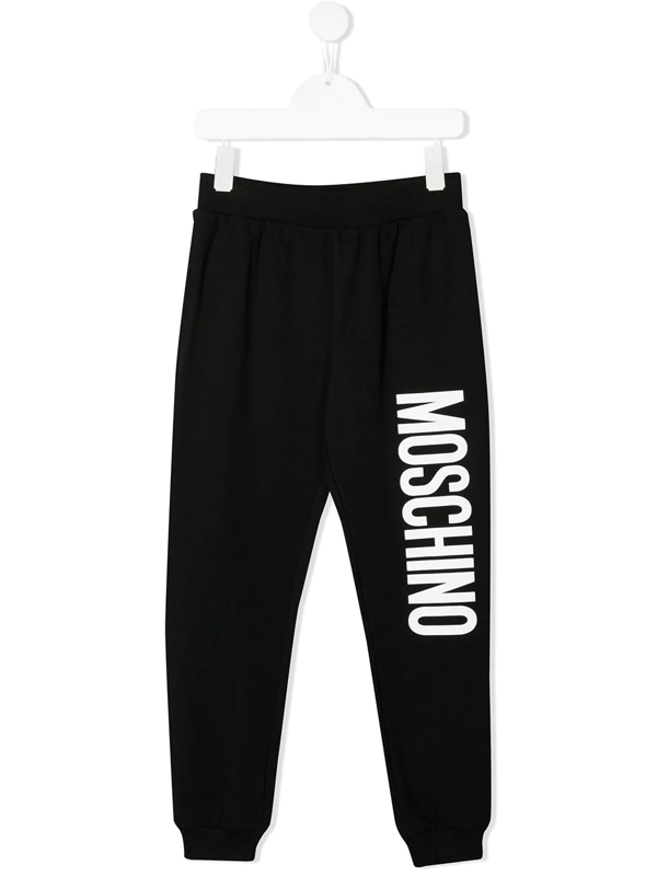 Moschino Kids' Logo Printed Track Pants In Black