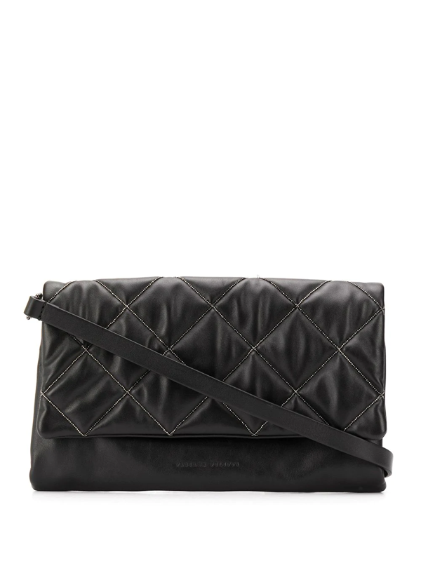 Fabiana Filippi Beaded Quilted Cross-body Bag In Black
