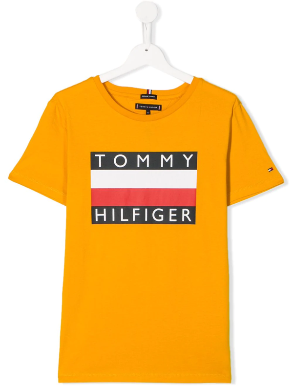Tommy Hilfiger Junior Kids' Printed Logo T-shirt In Yellow