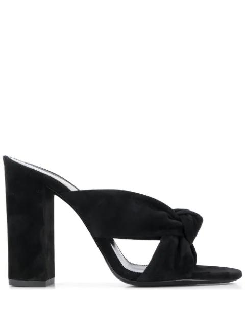Saint Laurent Loulou 100mm Suede Mule Sandals In Black