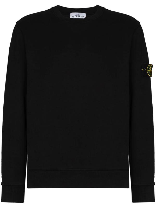 Stone Island Logo-appliquéd Mélange Cotton-jersey Sweatshirt In V0029 Black