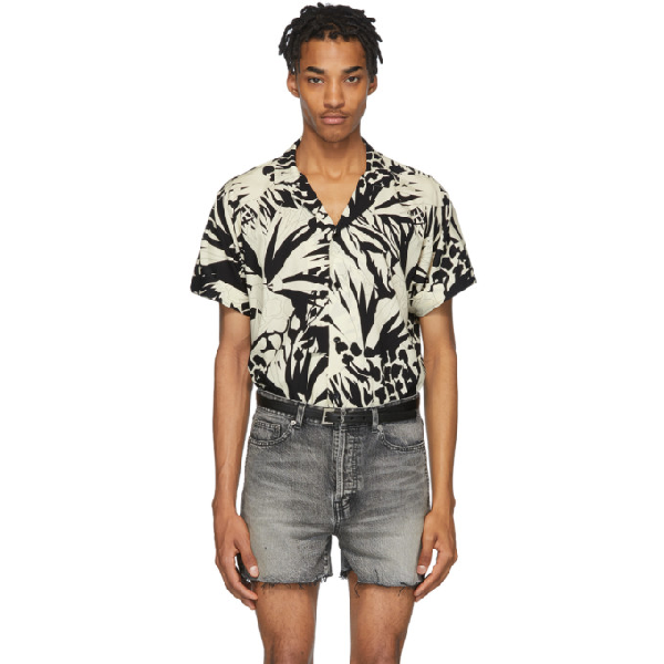 Saint Laurent Jungle Print Viscose Cropped Shirt In 1095 Noircr