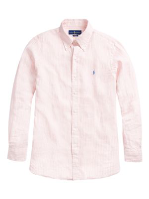 Polo Ralph Lauren Men's Classic-fit Stripe Logo-embroidered Linen Shirt In Light Pink