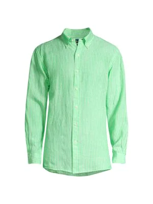 Polo Ralph Lauren Men's Classic-fit Stripe Sports Shirt In Lime