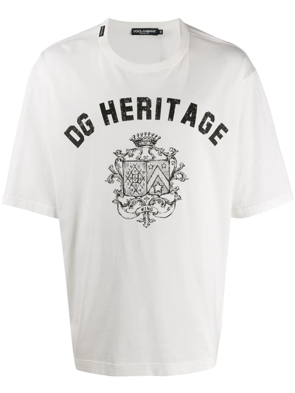 Dolce & Gabbana Dolce E Gabbana Men's G8kn7tfi7iohw15e White Cotton T-shirt In Hw15earmbia