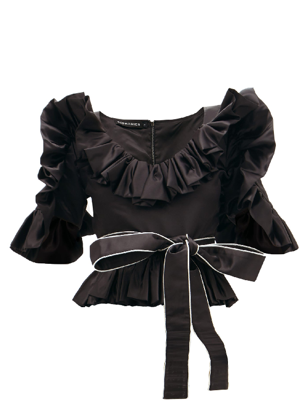 Germanier Ruffled Upcycled-satin Belted Blouse In Black