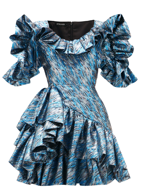 Germanier Ruffled Upcycled Brocade Mini Dress In Blue Silver
