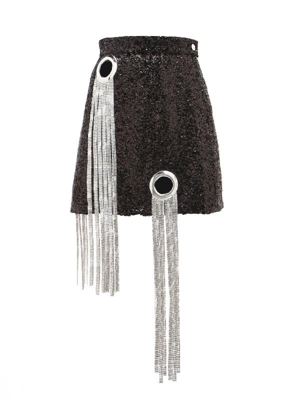 Germanier Chainmail-tassel Sequinned Mini Skirt In Black