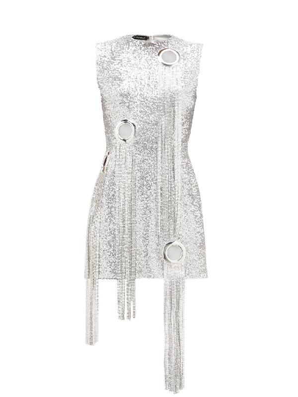 Germanier Chainmail-tassel Sequinned Mini Dress In Silver