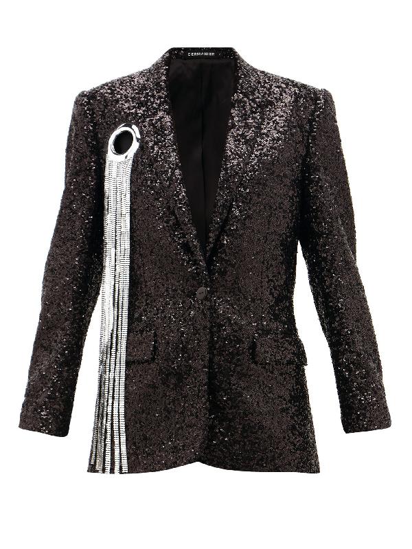 Germanier Chainmail-tassel Sequinned Blazer In Black