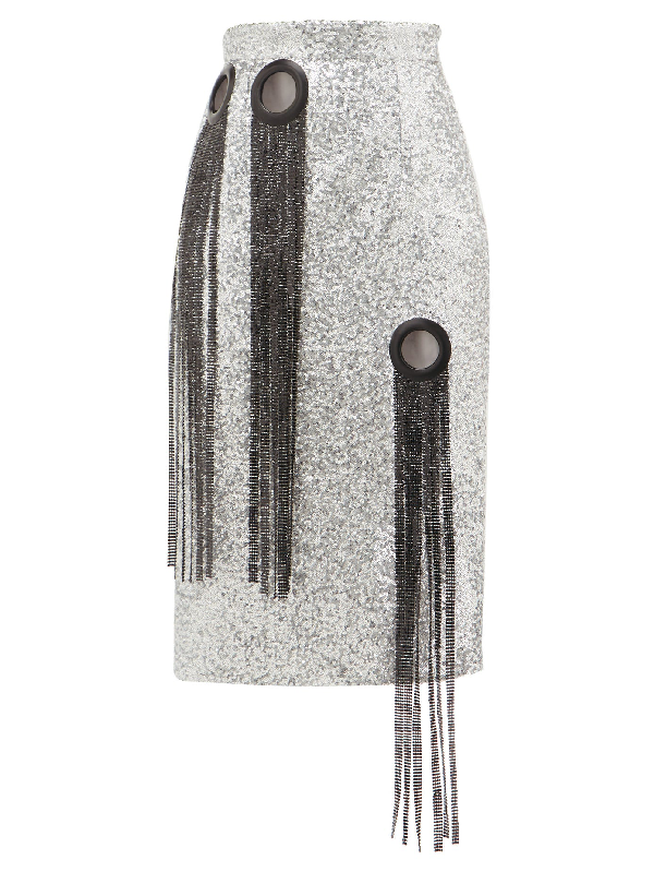 Germanier Chainmail-tassel Sequinned Pencil Skirt In Silver