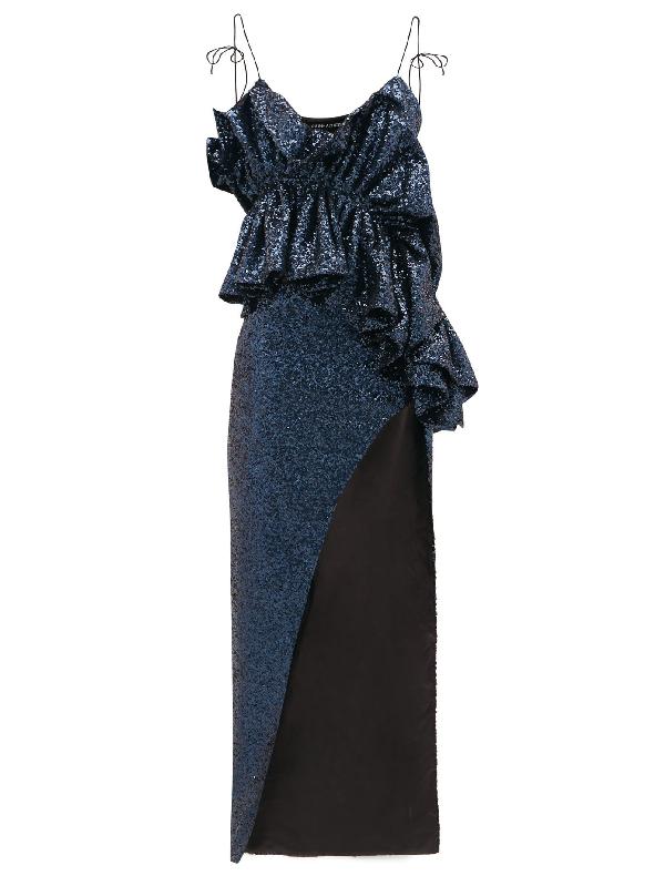 Germanier Ruffled Sequinned Maxi Dress In Navy