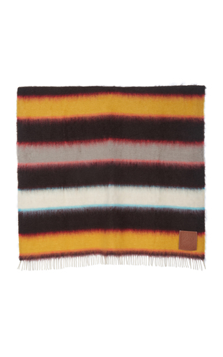 Loewe Leather-trimmed Fringed Striped Mohair-blend Wrap In Orange