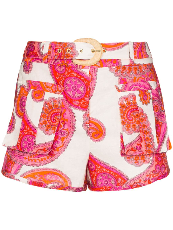 Zimmermann Peggy Paisley-print Linen And Cotton-blend Shorts In White