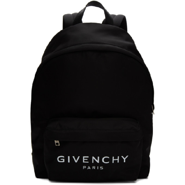 Givenchy Black Logo-print Nylon Backpack In 004 Blk/wht
