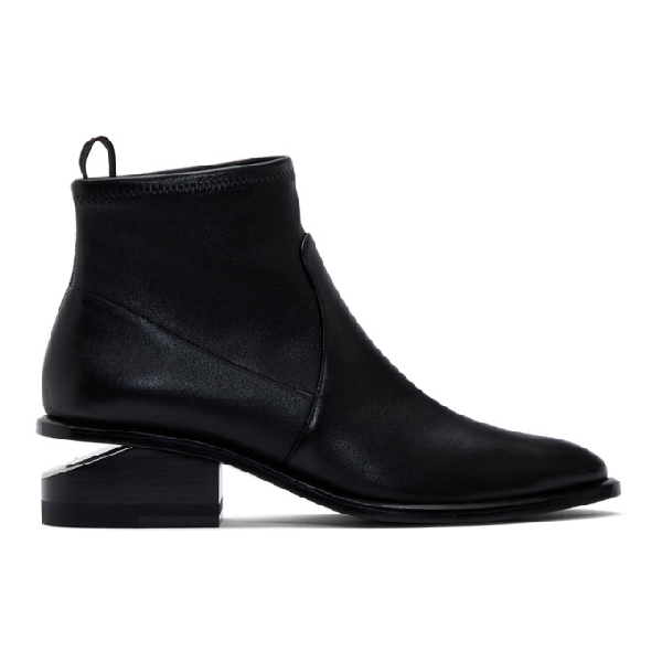 Alexander Wang Kori Strech Low Heels Ankle Boots In Black Leather And Fabric In 001 Black