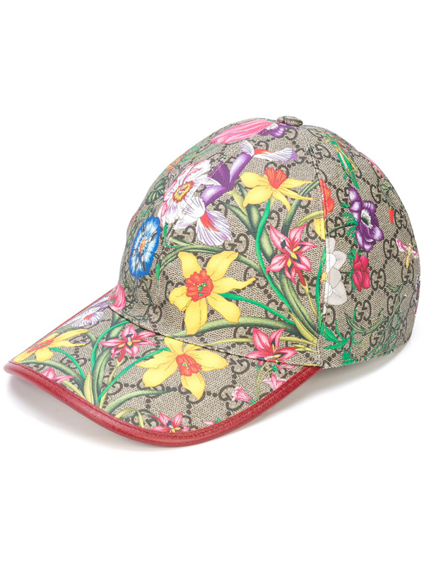 Gucci Floral Gg Baseball Cap In Brown
