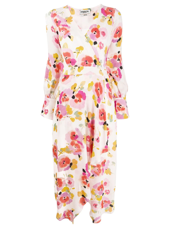 Essentiel Antwerp Valoumi Floral Wrap Dress In Pink