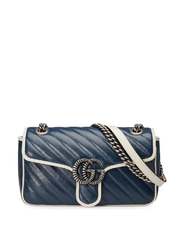 Gucci Gg Marmont Mini Shoulder Bag In Blue