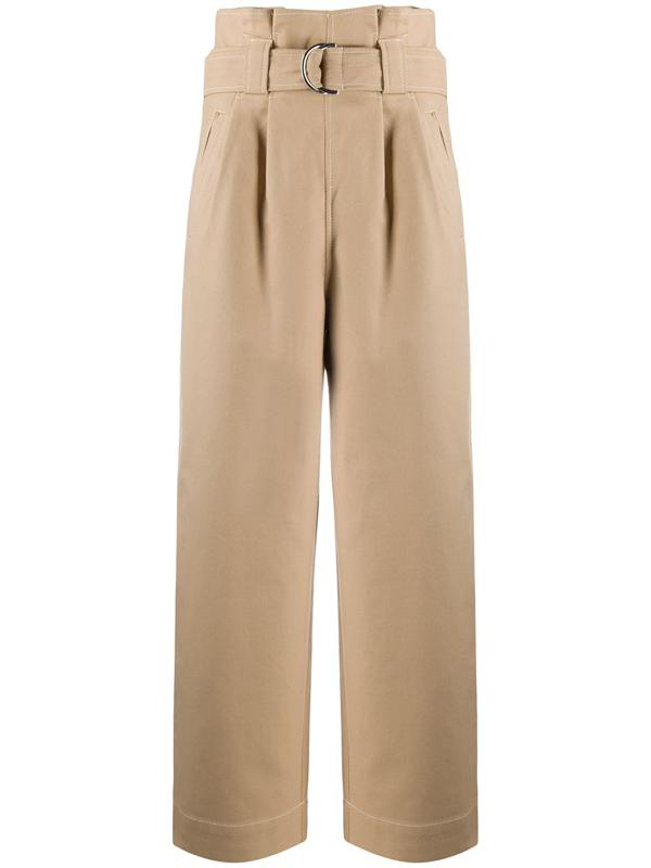 Ganni Paperbag-waist Cotton-blend Ripstop Trousers In Neutrals