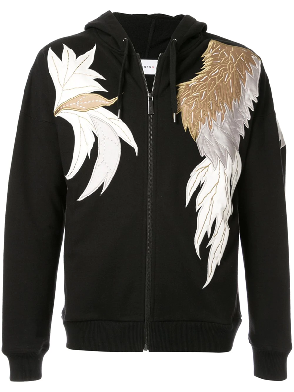 Ports V Embroidered Detail Hoodie In Black