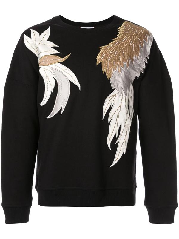 Ports V Appliqué Crew-neck Sweatshirt In Black