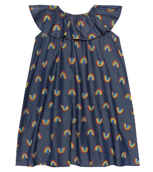 Stella Mccartney Kids' Off-the-shoulder Rainbow Print Dress In Blue