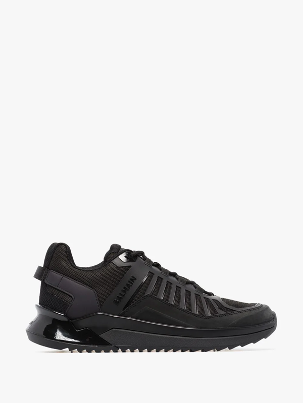 Balmain B-trail Sneakers In Leather And Black Fabric