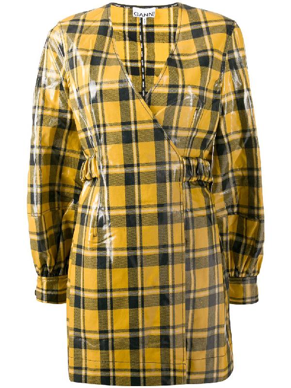 Ganni Coated Cotton Twill Mini Dress In Yellow