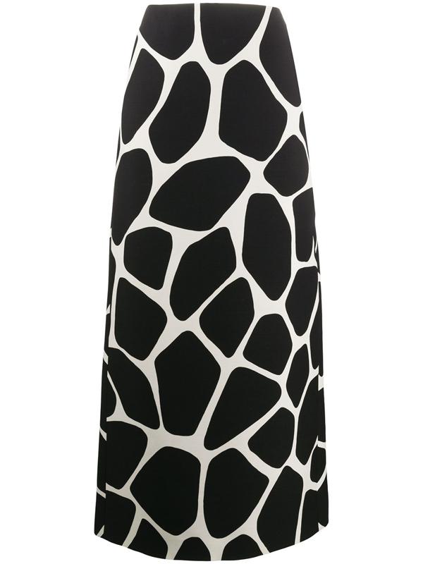 Valentino Animal Print Long Skirt In 0an Avorio Nero