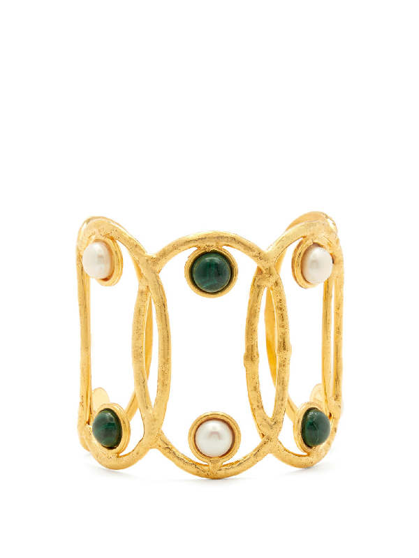 Sylvia Toledano Jackie Pearl And Malachite Cuff In Gold