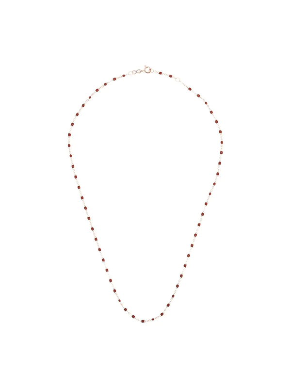 Gigi Clozeau 18k Rose Gold Red Beaded Necklace In 41 Burgundy