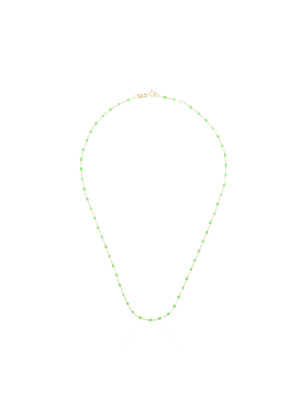 Gigi Clozeau 18k Yellow Gold And Green Beaded Necklace In 36 Green