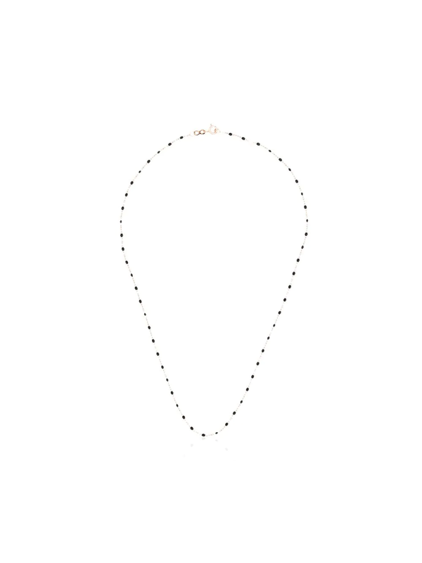 Gigi Clozeau 18k Rose Gold 42 Cm Beaded Necklace In Black