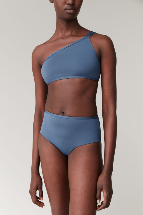 Cos High-waisted Bikini Bottoms In Blue
