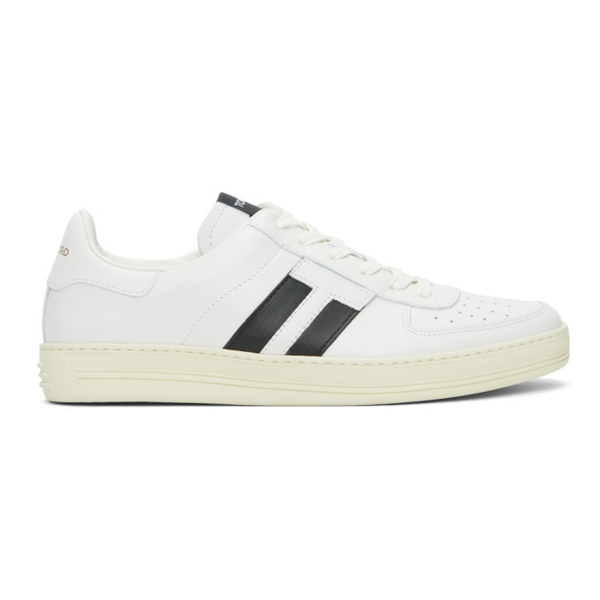 Tom Ford White Warwick Leather Tennis Sneakers
