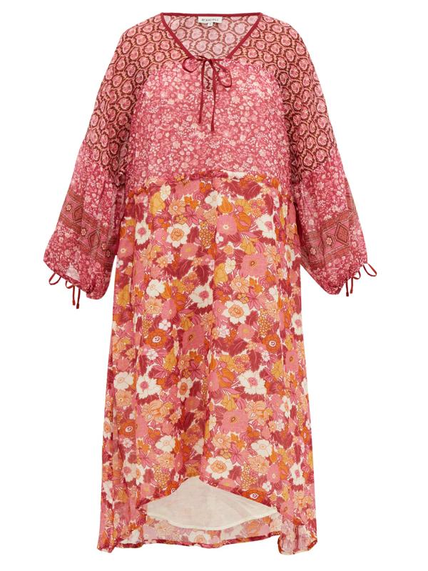 D'ascoli Fernanda Floral-print Cotton Dress In Pink Print