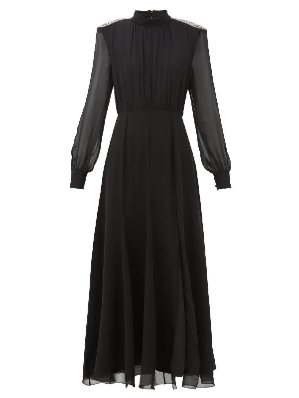 Saloni Jacqui Crystal-embellished Silk-georgette Dress In Black