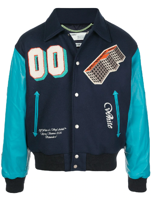 Off-white Golden Ratio Leather Varsity Jacket Blue In Blue ,multicolour