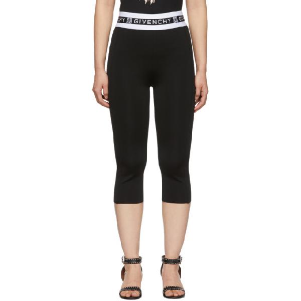 Givenchy Logo Punto Milano Midi Leggings In 001 Black