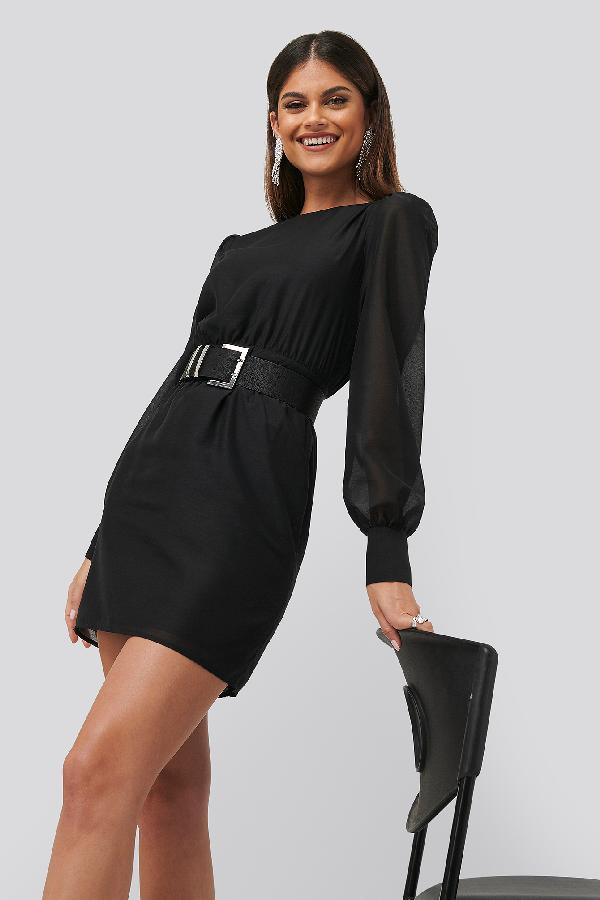 Chloé B X Na-kd Belted Puff Sleeve Dress Black