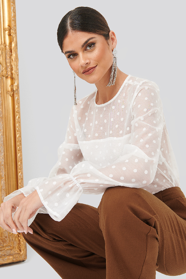 Chloé B X Na-kd Dotted Blouse - White In White Dots
