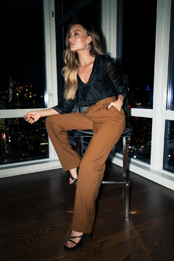 Chloé B X Na-kd Pleat Front Pants - Brown
