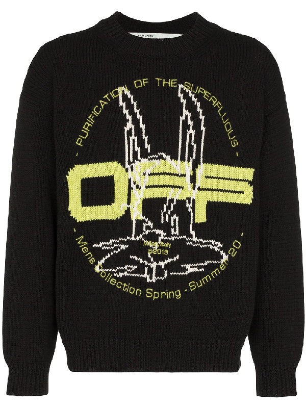 Off-white Harry The Bun Brand-pattern Cotton-blend Jumper In 黑色