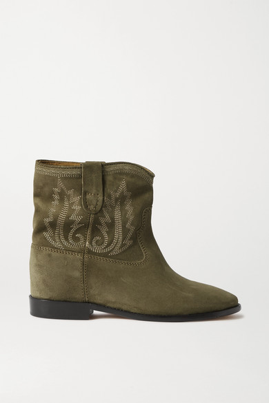 Isabel Marant Crisi Embroidered Suede Ankle Boots In Army Green