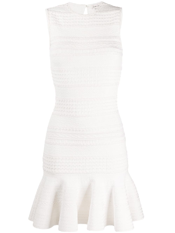 Alexander Mcqueen Ruffled Cable-knit Wool-blend Mini Dress In White